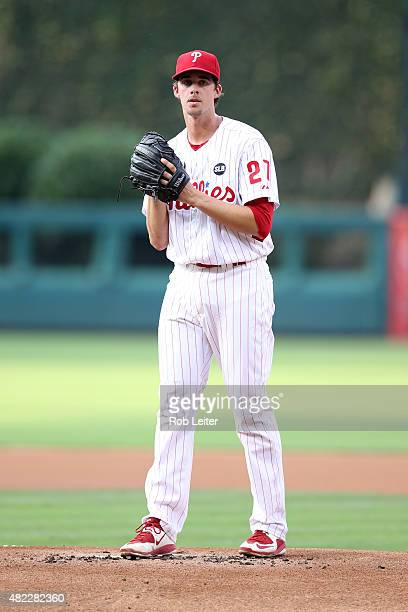 Aaron Nola of the Philadelphia Phillies pitches during the game against the Tampa Bay Rays at Citizens Bank Park on July 21 2015 in Philadelphia PA...