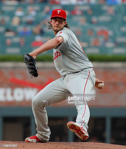 Aaron Nola of the Philadelphia Phillies pitches in the first inning against the Atlanta Braves at SunTrust Park on July 02, 2019 in Atlanta, Georgia.