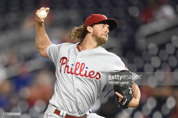 Aaron Nola of the Philadelphia Phillies pitches in the first inning during game two of a doubleheader baseball game against the Washington Nationals...