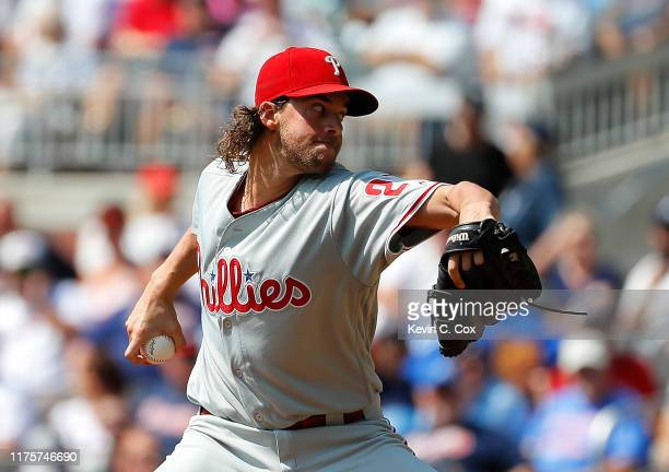 Aaron Nola of the Philadelphia Phillies pitches in the first inning against the Atlanta Braves at SunTrust Park on September 19, 2019 in Atlanta,...