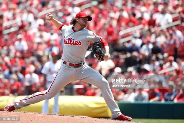 Aaron Nola of the Philadelphia Phillies pitches in the first inning of a game against the St Louis Cardinals at Busch Stadium on June 11 2017 in St...