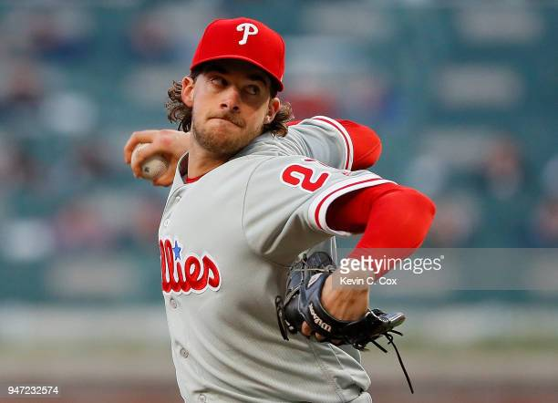 Aaron Nola of the Philadelphia Phillies pitches in the first inning against the Atlanta Braves at SunTrust Park on April 16 2018 in Atlanta Georgia