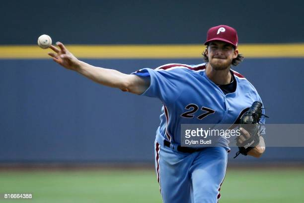 Aaron Nola of the Philadelphia Phillies pitches in the fourth inning against the Milwaukee Brewers at Miller Park on July 15 2017 in Milwaukee...