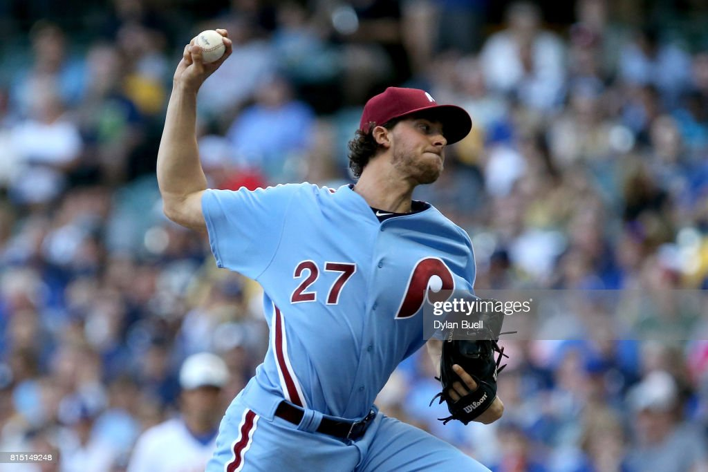 Aaron Nola #27 of the Philadelphia Phillies pitches in the second inning against the Milwaukee Brewers at Miller Park on July 15, 2017 in Milwaukee, Wisconsin.