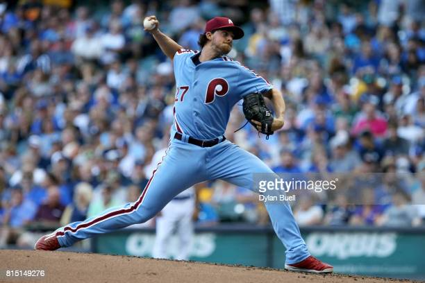 Aaron Nola of the Philadelphia Phillies pitches in the second inning against the Milwaukee Brewers at Miller Park on July 15 2017 in Milwaukee...