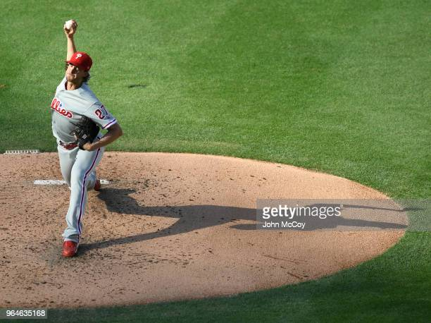 Aaron Nola of the Philadelphia Phillies pitches in the second inning against the Los Angeles Dodgers at Dodger Stadium on May 31 2018 in Los Angeles...