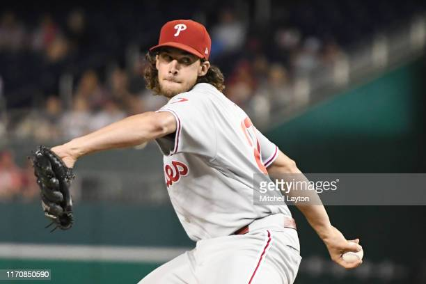 Aaron Nola of the Philadelphia Phillies pitches in the third inning during game two of a doubleheader baseball game against the Washington Nationals...