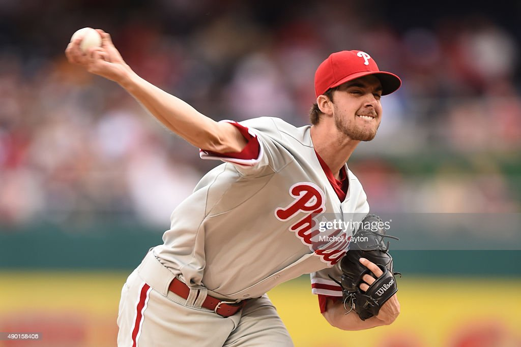 Aaron Nola #27 of the Philadelphia Phillies pitches in the third inning during a baseball game against the Washington Nationals at Nationals Park on September 26, 2015 in Washington, DC.