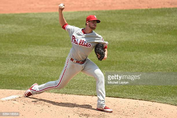 Aaron Nola of the Philadelphia Phillies pitches in the third inning during a baseball game against the Washington Nationals at Nationals Park on June...