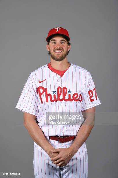 Aaron Nola of the Philadelphia Phillies poses during Photo Day at The Phillies Spring Training Ballpark on Tuesday, February 23, 2021 in Clearwater,...