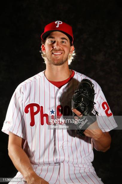 Aaron Nola of the Philadelphia Phillies poses for a photo during the Phillies' photo day on February 19, 2019 at Carpenter Field in Clearwater,...