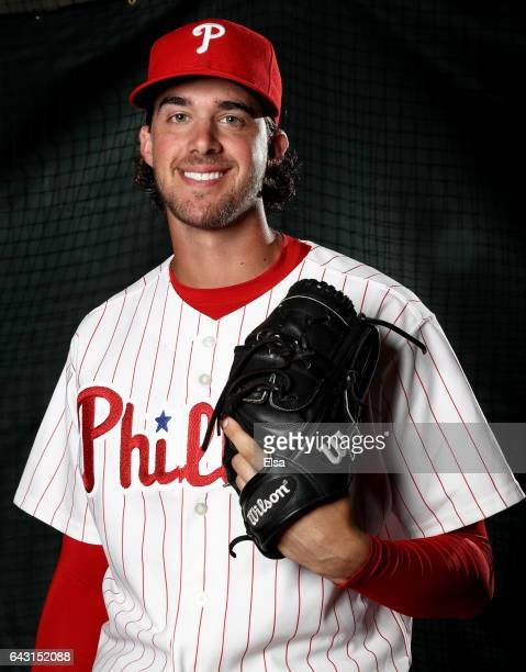 Aaron Nola of the Philadelphia Phillies poses for a portrait during the Philadelphia Phillies photo day on February 20 2017 at Spectrum Field in...
