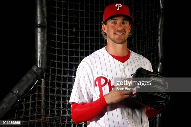 Aaron Nola of the Philadelphia Phillies poses for a portrait on February 20 2018 at Spectrum Field in Clearwater Florida