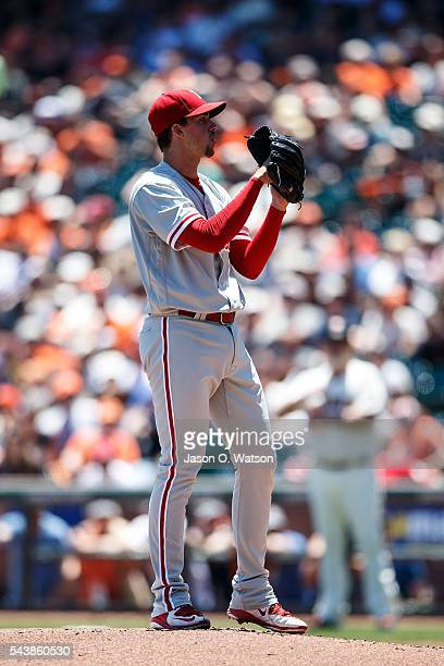 Aaron Nola of the Philadelphia Phillies stands on the pitchers mound against the San Francisco Giants during the first inning at ATT Park on June 26...