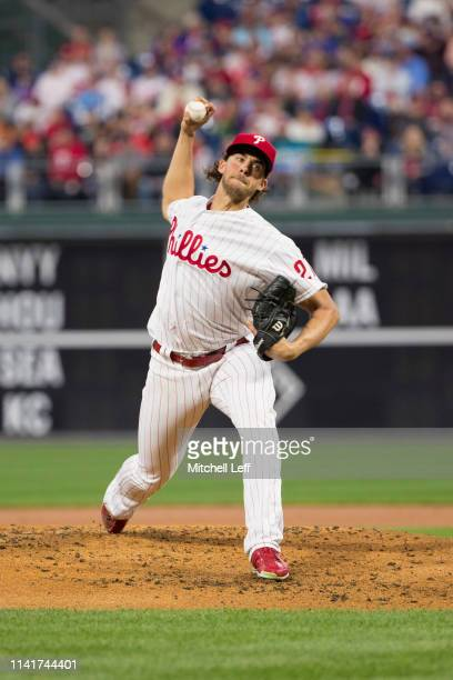 Aaron Nola of the Philadelphia Phillies throws a pitch against the Washington Nationals at Citizens Bank Park on April 9, 2019 in Philadelphia,...