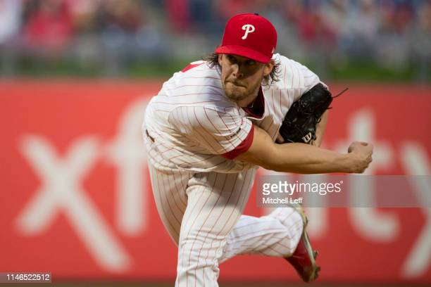 Aaron Nola of the Philadelphia Phillies throws a pitch against the Detroit Tigers at Citizens Bank Park on May 1, 2019 in Philadelphia, Pennsylvania.