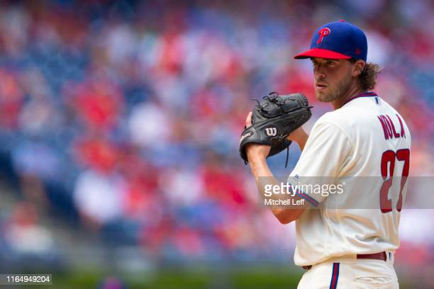 Aaron Nola of the Philadelphia Phillies throws a pitch against the Atlanta Braves at Citizens Bank Park on July 28, 2019 in Philadelphia,...