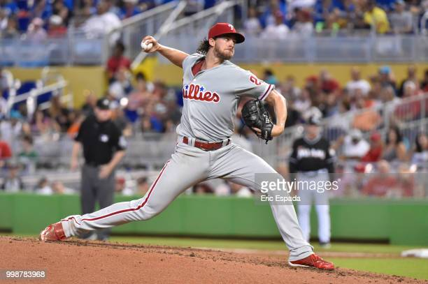 Aaron Nola of the Philadelphia Phillies throws a pitch during the second inning against the Miami Marlins at Marlins Park on July 14 2018 in Miami...