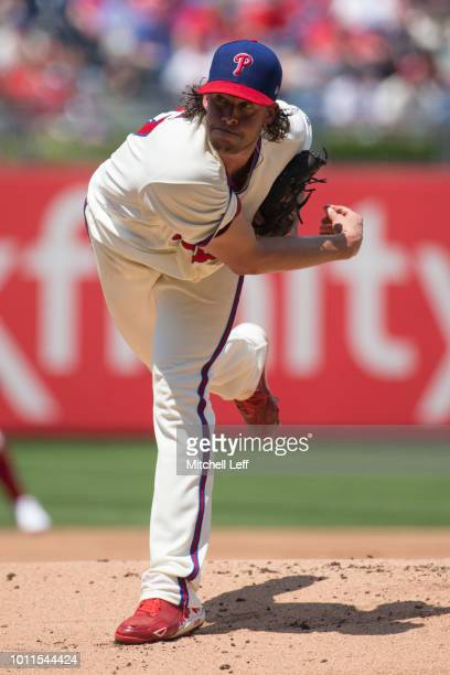 Aaron Nola of the Philadelphia Phillies throws a pitch in the top of the first inning against the Miami Marlins at Citizens Bank Park on August 5...