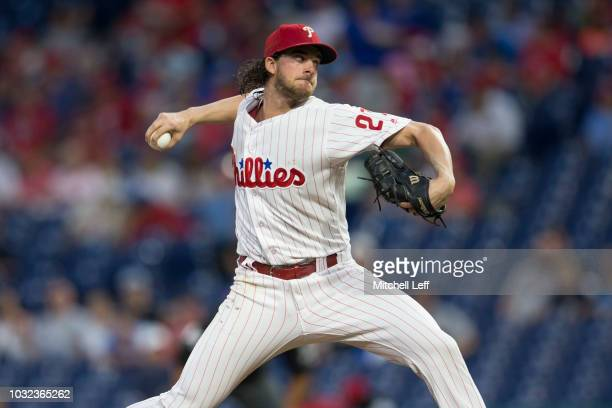 Aaron Nola of the Philadelphia Phillies throws a pitch in the top of the first inning against the Washington Nationals at Citizens Bank Park on...