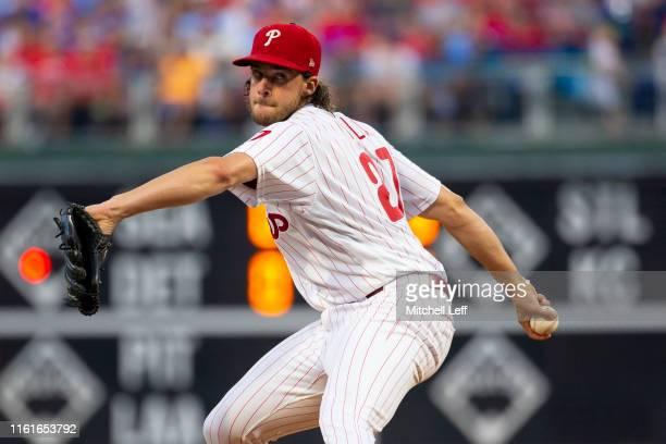 Aaron Nola of the Philadelphia Phillies throws a pitch in the top of the second inning against the Chicago Cubs at Citizens Bank Park on August 14,...
