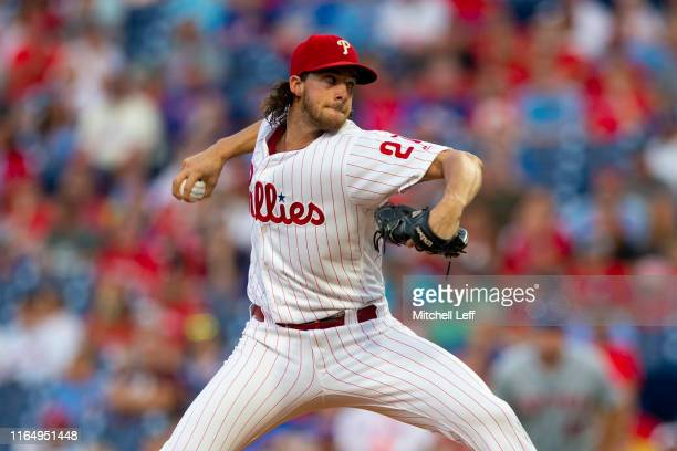 Aaron Nola of the Philadelphia Phillies throws a pitch in the top of the first inning against the New York Mets at Citizens Bank Park on August 30,...