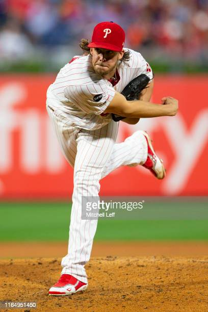 Aaron Nola of the Philadelphia Phillies throws a pitch in the top of the third inning against the New York Mets at Citizens Bank Park on August 30,...