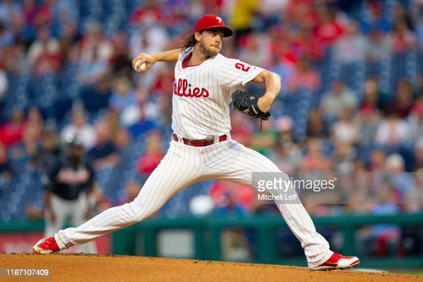 Aaron Nola of the Philadelphia Phillies throws a pitch in the top of the first inning against the Atlanta Braves at Citizens Bank Park on September...