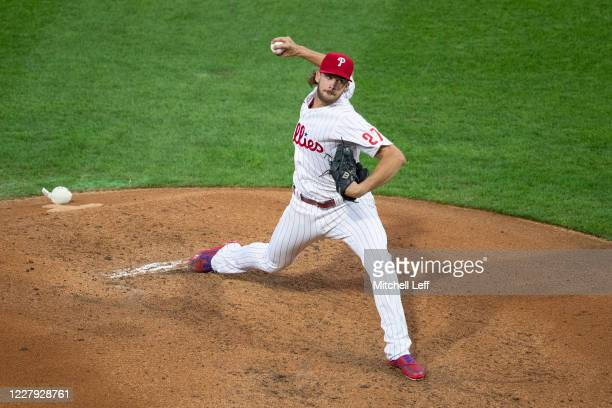 Aaron Nola of the Philadelphia Phillies throws a pitch in the top of the second inning against the New York Yankees during Game Two of the...