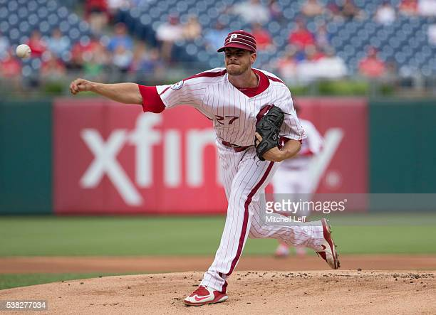Aaron Nola of the Philadelphia Phillies throws a pitch in the top of the first inning against the Milwaukee Brewers at Citizens Bank Park on June 5...