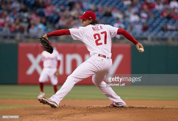 Aaron Nola of the Philadelphia Phillies throws a pitch in the top of the first inning against the Washington Nationals at Citizens Bank Park on April...