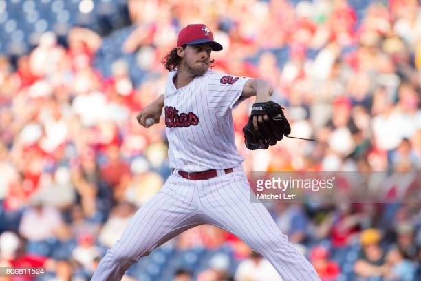 Aaron Nola of the Philadelphia Phillies throws a pitch in the top of the first inning against the Pittsburgh Pirates at Citizens Bank Park on July 3...