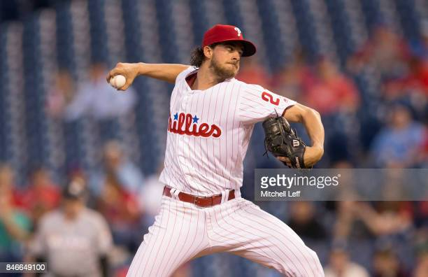 Aaron Nola of the Philadelphia Phillies throws a pitch in the top of the first inning against the Miami Marlins at Citizens Bank Park on September 13...