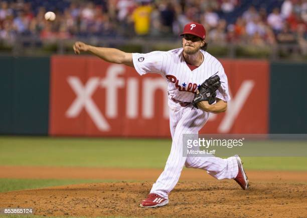 Aaron Nola of the Philadelphia Phillies throws a pitch in the top of the fourth inning against the Washington Nationals at Citizens Bank Park on...