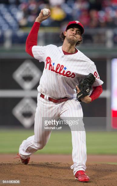 Aaron Nola of the Philadelphia Phillies throws a pitch in the top of the first inning against the Cincinnati Reds at Citizens Bank Park on April 10...