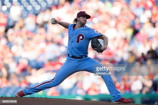Aaron Nola of the Philadelphia Phillies throws a pitch in the top of the first inning against the Washington Nationals at Citizens Bank Park on June...