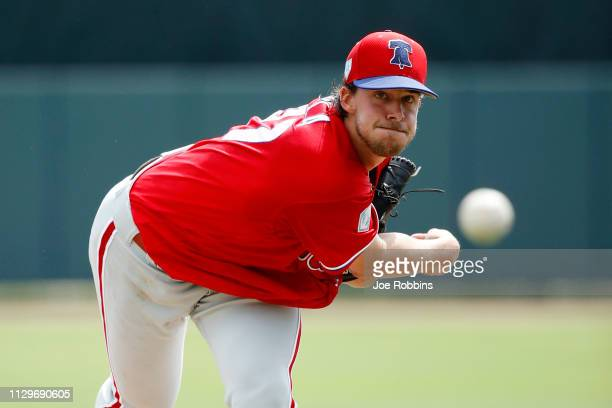 Aaron Nola of the Philadelphia Phillies throws a warmup pitch in the first inning of a Grapefruit League spring training game against the Baltimore...