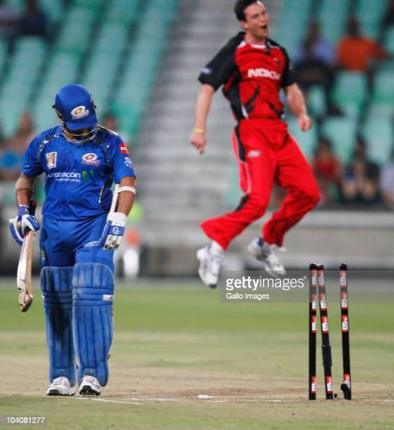 Aaron O' Brien of South Australian Redbacks celebrates the wicket of Sachin Tendulkar of Mumbai Indians during the Airtel Champions League Twenty20...