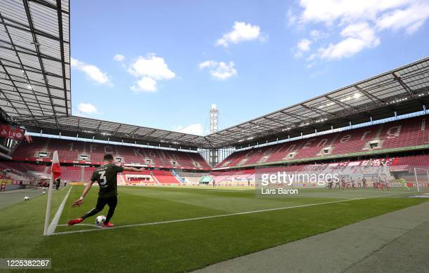 Aaron of FSV Mainz 05 performs a cornerkick during the Bundesliga match between 1 FC Koeln and 1 FSV Mainz 05 at RheinEnergieStadion on May 17 2020...