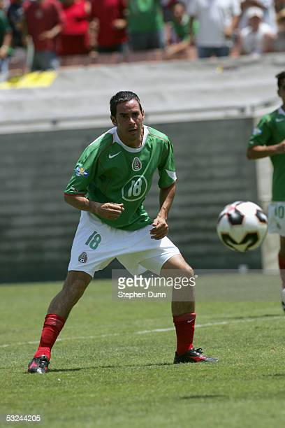 Aaron Padilla of Mexico prepares to receive the ball against Guatemala during the CONCACAF Gold Cup game on July 10 2005 at the Los Angeles Memorial...