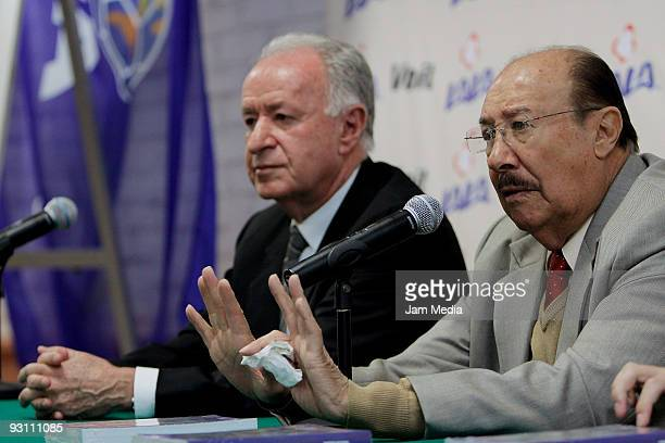 Aaron Padilla President of the Referees' Comission and Arturo Yamasak during the lauch of the 'Las Reglas del Futbol Ilustradas' book at CENCAP on...