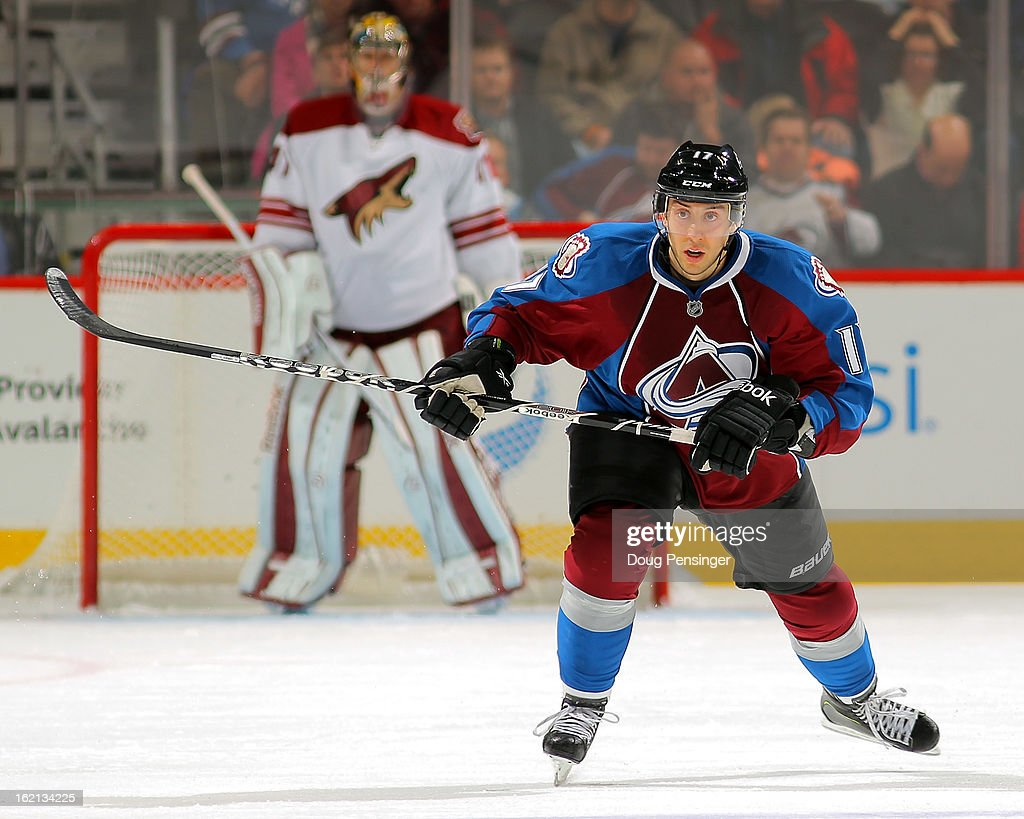 Aaron Palushaj #17 of the Colorado Avalanche skates against the Phoenix Coyotes at the Pepsi Center on February 11, 2013 in Denver, Colorado. The Coyotes defeated the Avalanche 3-2 in overtime.