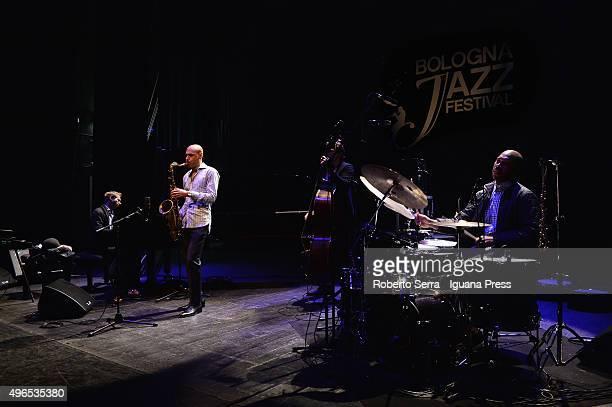 Aaron Parks Joshua Redman Matt Penman Eric Harland the James Farm quartet performs for Bologna Jazz Festival at Teatro Duse on November 10 2015 in...