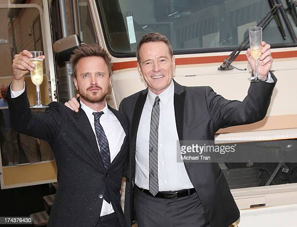 """Aaron Paul and Bryan Cranston arrive at AMC's """"Breaking Bad"""" special premiere event held at Sony Pictures Studios on July 24, 2013 in Culver City,..."""