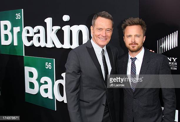 """Aaron Paul and Bryan Cranston attend the """"Breaking Bad"""" Los Angeles Premiere at Sony Pictures Studios on July 24, 2013 in Culver City, California."""
