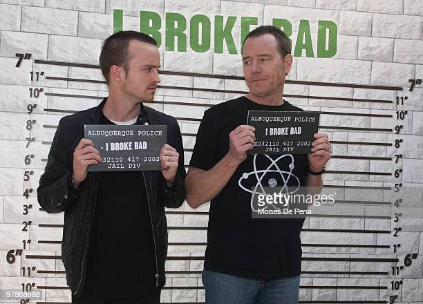 """Aaron Paul and Bryan Cranston attend the """"Breaking Bad"""" National RV Tour final stop at Military Island, Times Square on March 19, 2010 in New York..."""