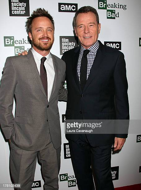 Aaron Paul and Bryan Cranston attend The Film Society Of Lincoln Center And AMC Celebration Of Breaking Bad Final Episodes at The Film Society of...