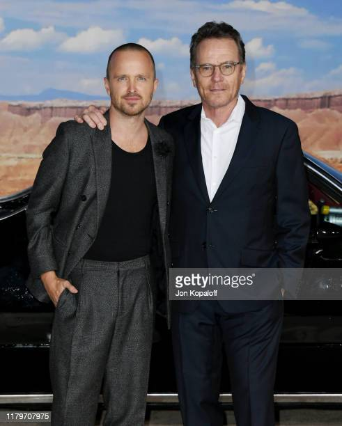 """Aaron Paul and Bryan Cranston attend the premiere of Netflix's """"El Camino: A Breaking Bad Movie"""" at Regency Village Theatre on October 07, 2019 in..."""