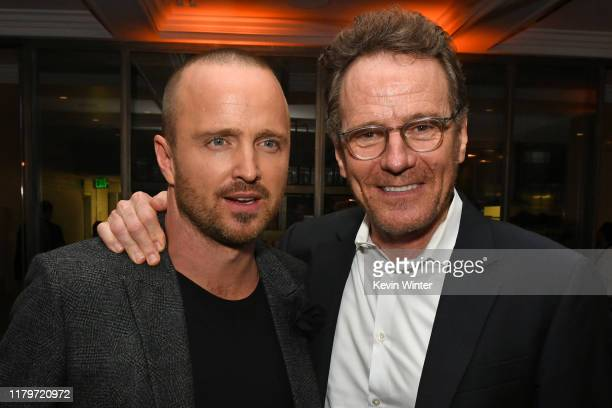 """Aaron Paul and Bryan Cranston attend the Premiere of Netflix's """"El Camino: A Breaking Bad Movie"""" After Party at Baltaire on October 07, 2019 in Los..."""
