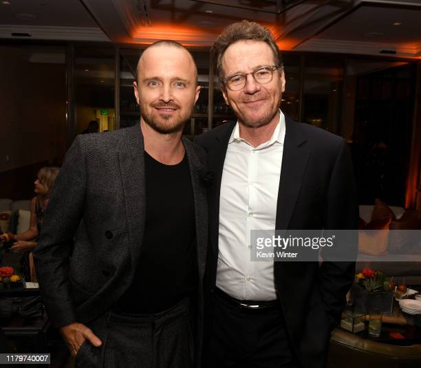 "Aaron Paul and Bryan Cranston pose at the after party for the premiere of Netfflix's ""El Camino: A Breaking Bad Movie"" at Baltaire on October 07,..."